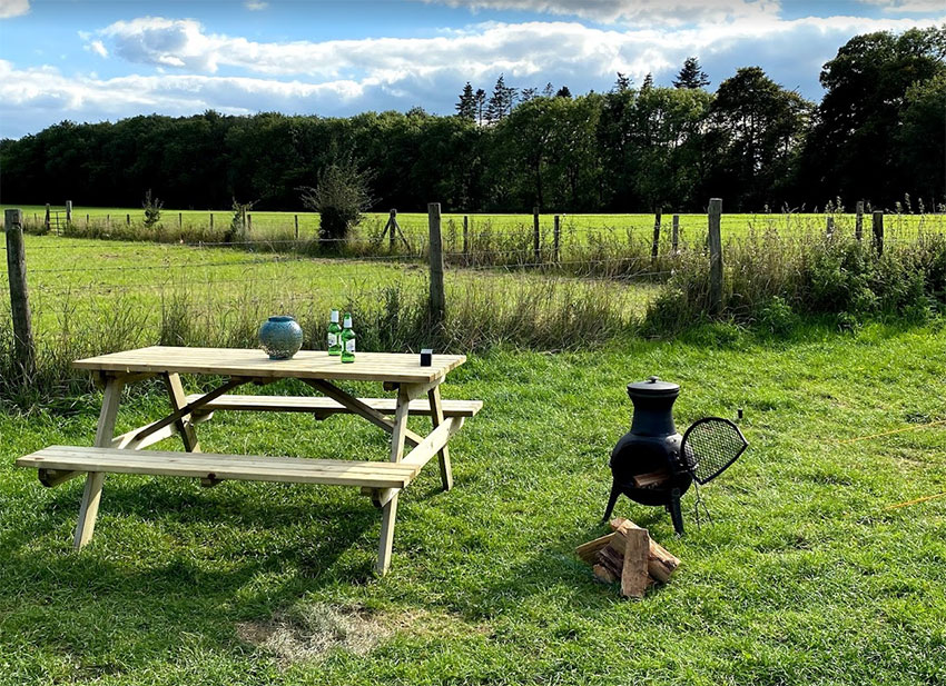 Bell Tent chiminea and picnic bench